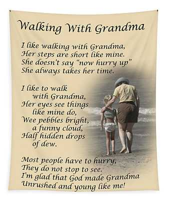 Walking With Grandma Tapestry