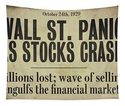 Wall Street Crash 1929 Newspaper Tapestry