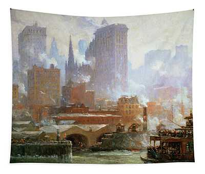 Wall Street Ferry Ship Tapestry