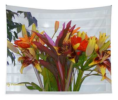 Warm Colored Flowers Tapestry