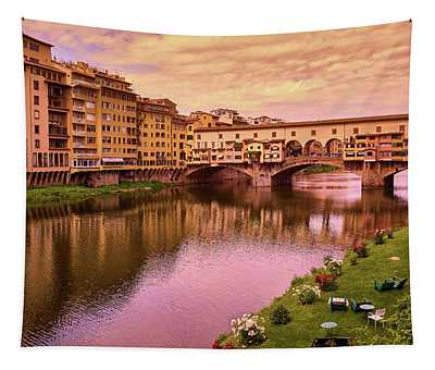 Sunset At Ponte Vecchio In Florence, Italy Tapestry