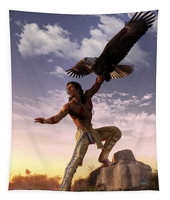 Warrior And Eagle Tapestry