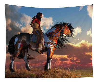 Warrior And War Horse Tapestry