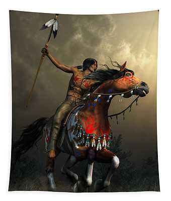 Warriors Of The Plains Tapestry