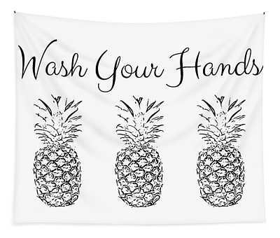 Wash Your Hands Pineapples- Art By Linda Woods Tapestry