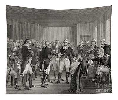 Washington Parting From His Officers At Fraunces Tavern, New York City, Usa, On December 4th 1783 Tapestry