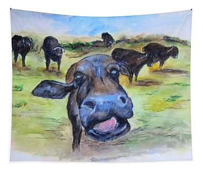 Water Buffalo Kiss Tapestry