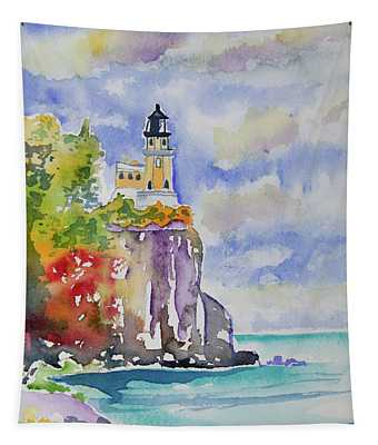 Watercolor - Autumn At Split Rock Lighthouse Tapestry