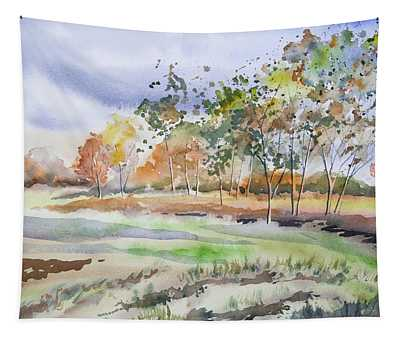 Watercolor - Autumn Birch Landscape Tapestry