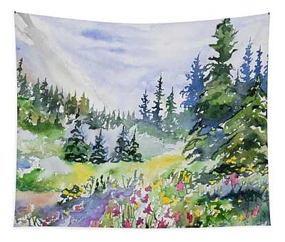 Watercolor - Colorado Summer Scene Tapestry