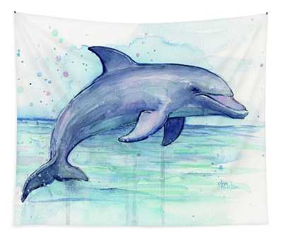Watercolor Dolphin Painting - Facing Right Tapestry