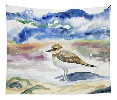 Watercolor - Double-banded Plover On The Beach Tapestry
