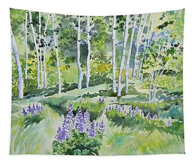 Watercolor - Early Summer Aspen And Lupine Tapestry