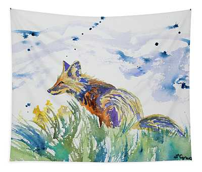 Watercolor - Fox On The Lookout Tapestry