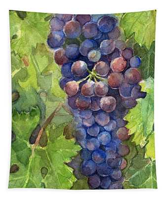 Watercolor Grapes Painting Tapestry