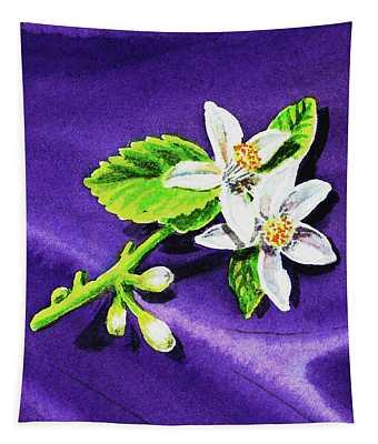 Watercolor Lemon Blossoms Spring Flowers Tapestry