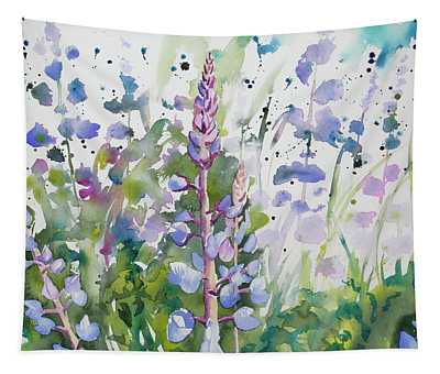 Watercolor - Lupine Wildflowers Tapestry
