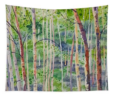 Watercolor - Magical Aspen Forest After A Spring Rain Tapestry