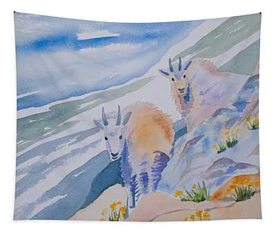 Watercolor - Mountain Goats On Quandary Tapestry