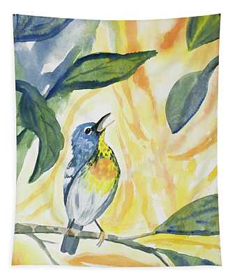 Watercolor - Northern Parula In Song Tapestry