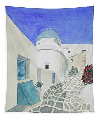 Watercolor - Paros Church And Street Scene Tapestry