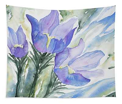 Watercolor - Pasque Flowers Tapestry