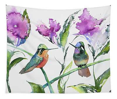 Watercolor - Purple-throated Mountain Gems And Flowers Tapestry
