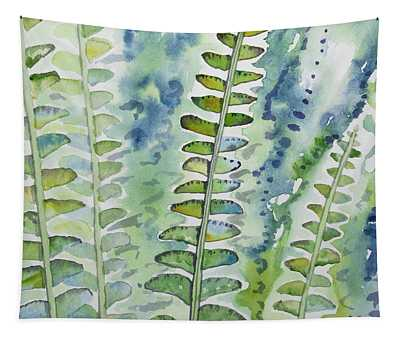 Watercolor - Rainforest Fern Impressions Tapestry