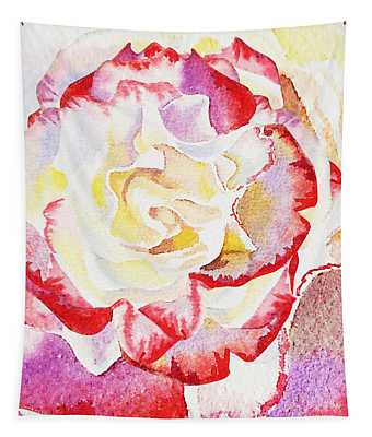 Watercolor Rose Close Up  Tapestry