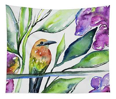 Watercolor - Rufous Motmot Tapestry