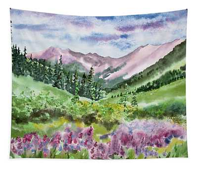 Watercolor - San Juans Mountain Landscape Tapestry