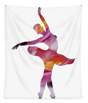 Watercolor Silhouette Dancing Ballerina I Tapestry