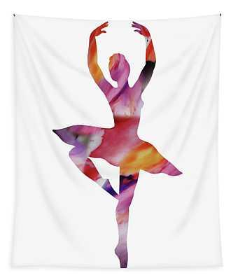 Watercolor Silhouette Dancing Ballerina II Tapestry