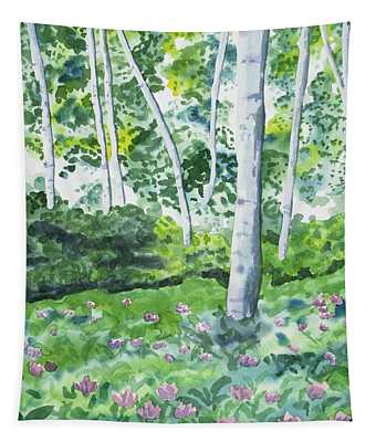 Watercolor - Spring Forest And Flowers Tapestry