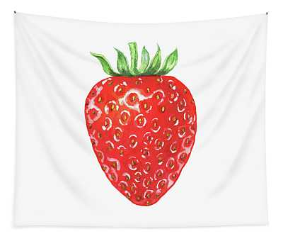Watercolor Strawberry  Tapestry