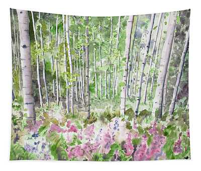 Watercolor - Summer Aspen Glade Tapestry