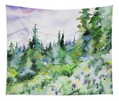 Watercolor - Summer In The Rockies Tapestry