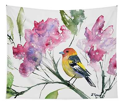 Watercolor - Western Tanager In A Flowering Tree Tapestry