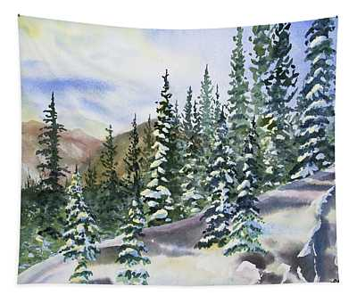 Watercolor - Winter Snow-covered Landscape Tapestry
