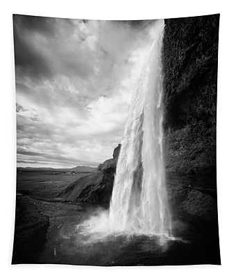Tapestry featuring the photograph Waterfall In Iceland Black And White by Matthias Hauser