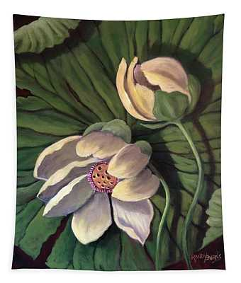 Waterlily Like A Clock Tapestry