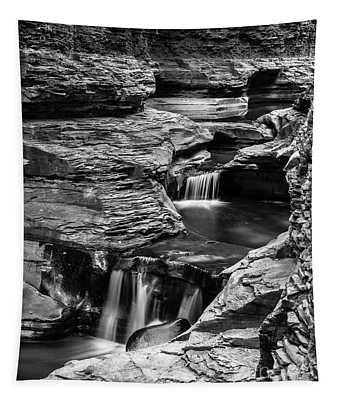 Watkins Glen Gorge Waterfall Black And White Tapestry