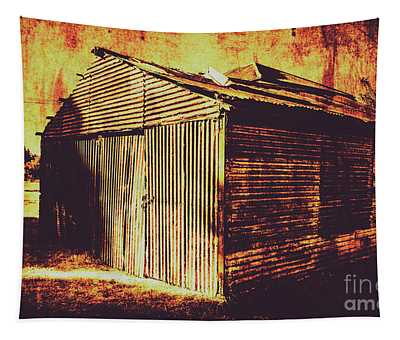 Weathered Vintage Rural Shed Tapestry