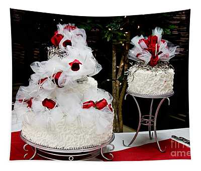 Wedding Cake And Red Roses Tapestry