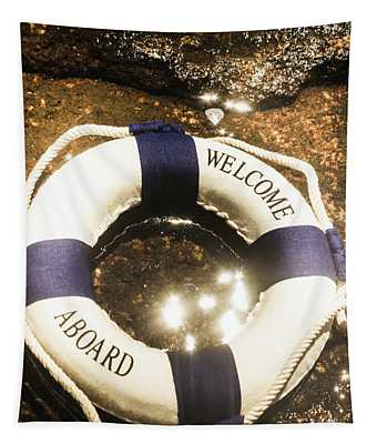Welcome Aboard Nautical Paradise Tapestry