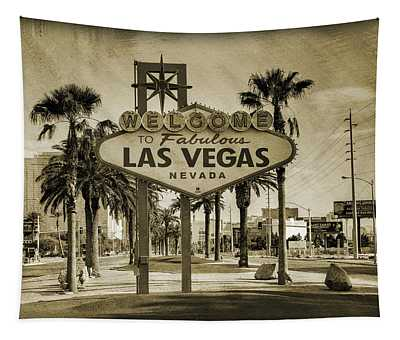 Welcome To Las Vegas Series Sepia Grunge Tapestry