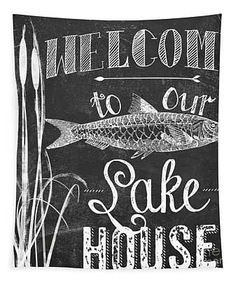 Welcome To Our Lake House Sign Tapestry