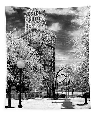 Western Auto In Winter Tapestry