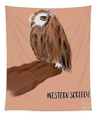 Western Screech Owl Illustration  Tapestry