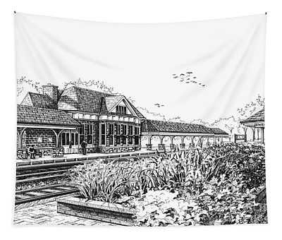 Western Springs Train Station Tapestry